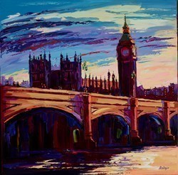 Sunset on the Thames by Lynn Rodgie -  sized 30x30 inches. Available from Whitewall Galleries